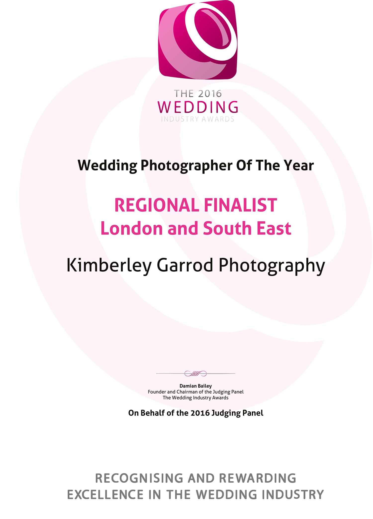 The 2016 Wedding Industry Awards REGIONAL FINALISTLondon a
